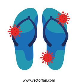 flip flops with particles covid 19 isolated icon