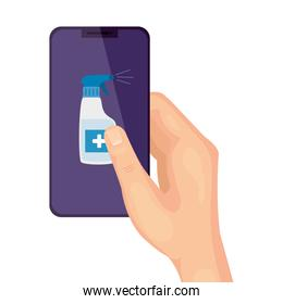 hand and smartphone with bottle spray sanitizer