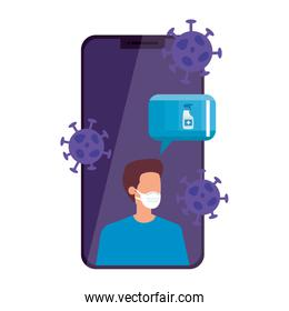 man using face mask in smartphone character