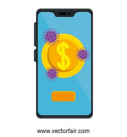 smartphone with coin and particles covid 19