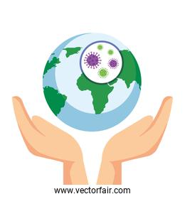 hands and planet earth with covid19 particles