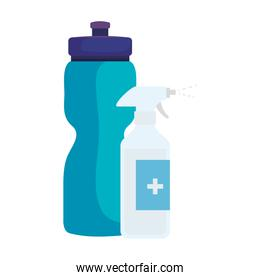 bottle spray sanitizer with bottle water isolated icon