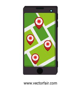 smartphone with app of infections location covid 19