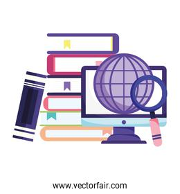 online education, computer world stacked books magnifying glass