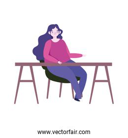 young woman sitting on chair with desk furniture isolated icon design