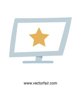 computer with star in screen device isolated icon design