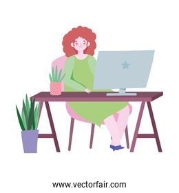 working remotely, young woman in desk with laptop with plants decoration