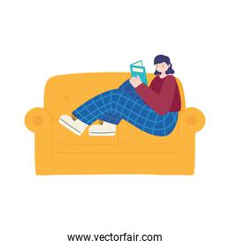 young woman sitting on sofa reading book isolated icon design