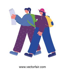 people activities,  women walking with map and backpacks