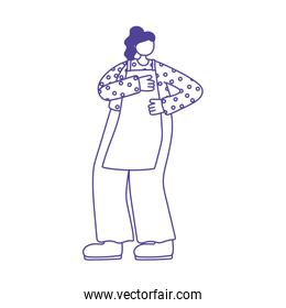 cook woman with apron character isolated icon design