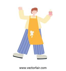 young man with cupcake and apron character icon design
