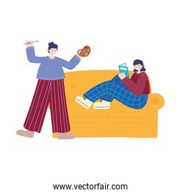 people activities, woman artist drawing on canvas holding palette color and girl reading book on sofa