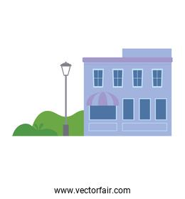 building store commercial facade trees street isolated icon design