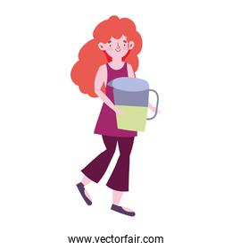 girl with juice pitcher cartoon character isolated icon design