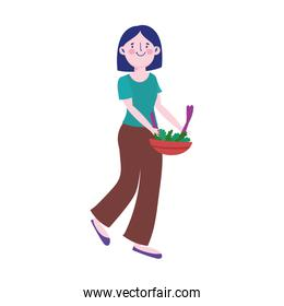 young woman with salad in bowl character isolated icon design
