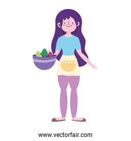 young woman with vegetables in bowl isolated icon design