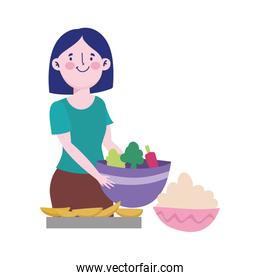 people cooking, woman with vegetable bowl dessert and cream