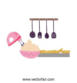 cooking, electric mixer making cream bake food isolated icon design