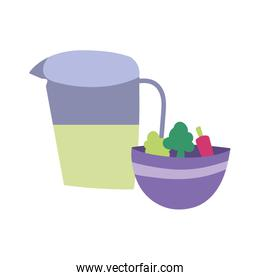 juice jar bowl with vegetables and lettuce cooking