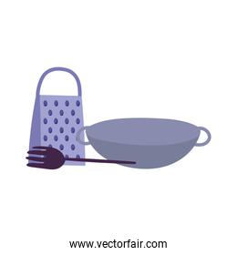 saucepan grater spatula cooking isolated icon design