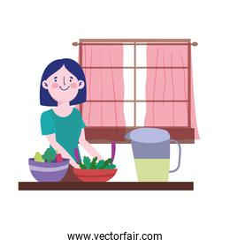 people cooking, woman with juice jar vegetables in bowl counter kitchen