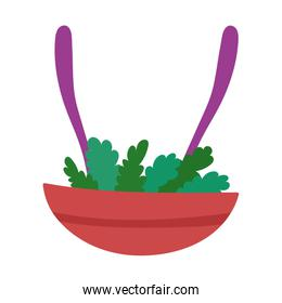 salad in bowl with utensils cooking isolated icon design