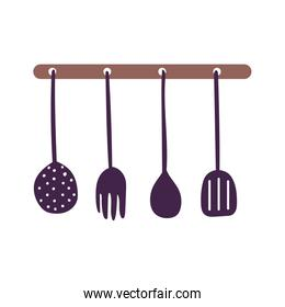 hanging cutlery utensils cooking isolated icon design