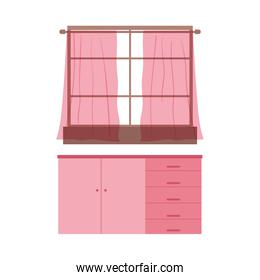 window curtains and cupboard furniture isolated icon design