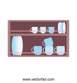 wooden shelf with tableware cups and jar cooking isolated icon design