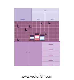 kitchen interior broken tiled wall condiments bottles cabinets and cupboard
