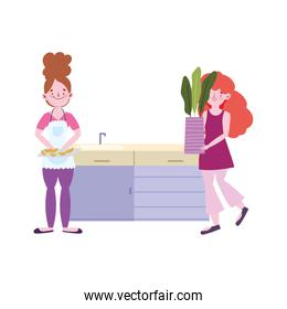 people cooking, women with food in cutting board and girl with potted plant in the kitchen