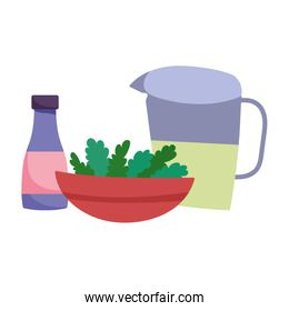 juice jar bowl with vegetables and sauce bottle cooking