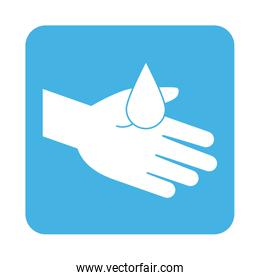 covid 19 coronavirus prevention hand with water drop clean block style icon