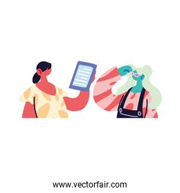 women organizing work to deliver