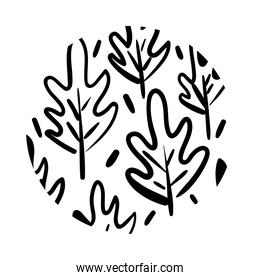 branch and leafs organic pattern line style
