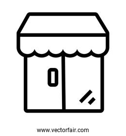 store building with parasol flat style icon