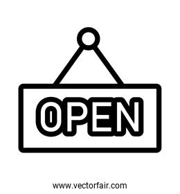 open store label hanging flat style