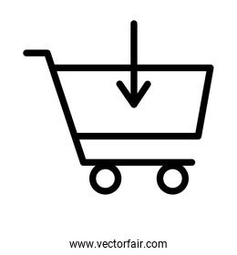 shopping cart market with arrow down flat style