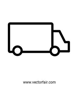 isolated truck delivery service flat style