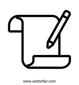 paper with pencil flat style icon