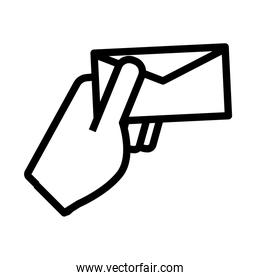 isolated hand with envelope mail flat style icon
