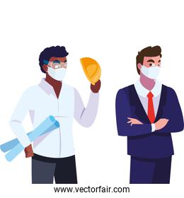 people engineer and executive with mask