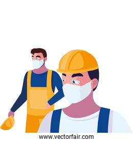 men operators with masks and reflective vests