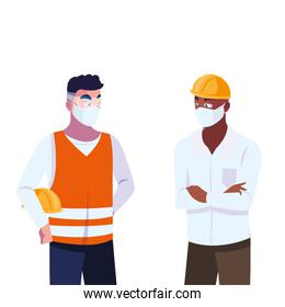 men operator and executive with mask and helmet