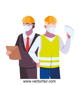 civil engineers with pollution masks