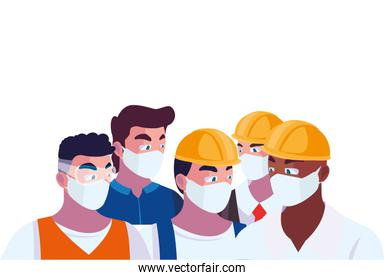 male engineers wearing face masks