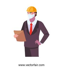 Industry operator wearing face mask at work