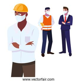 Industry operators wearing face masks at work