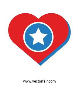 heart with star independence day flat style