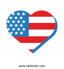 heart with usa flag flat style